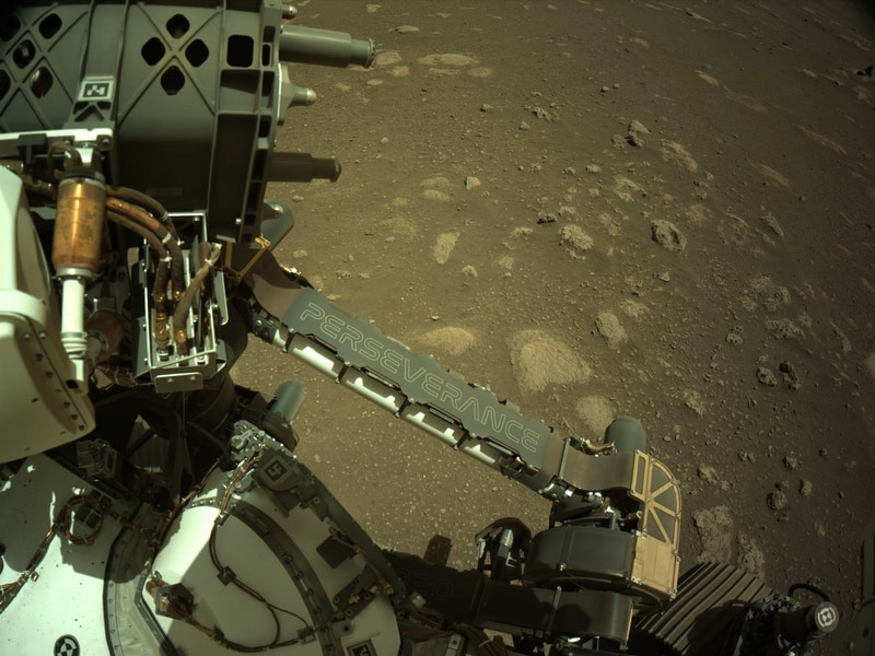 NASA's Mars Perseverance rover acquired this image using its onboard Left Navigation Camera (Navcam). The camera is located high on the rover's mast and aids in driving.  This image was acquired on Mar. 3, 2021 (Sol 12) at the local mean solar time of 13:29:39.