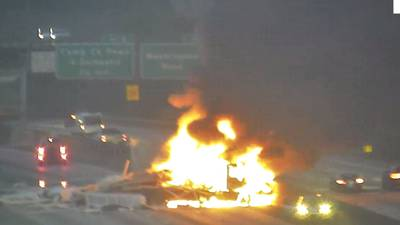 Tractor-trailer fire shuts down lanes of I-285 S near Atlanta airport