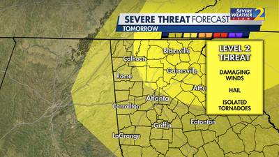 Level 1 risk for strong storms Monday in metro Atlanta