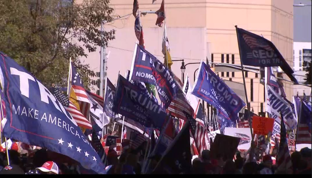 Supporters rally for President Trump outside state Capitol