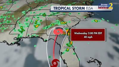 Tropical Storm Elsa to move into south Georgia Wednesday