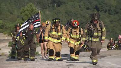 100+ firefighters climb Stone Mountain in full gear to honor lives lost on 9/11