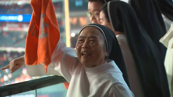 Group of nuns cheering on the Houston Astros